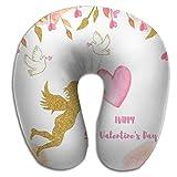 Almohada en Forma de U Tarjetas de Siesta Ángel Dorado Flechas Corazones Cintas Plantilla de Palomas Saludo Invitación Boda Romántico San Valentín