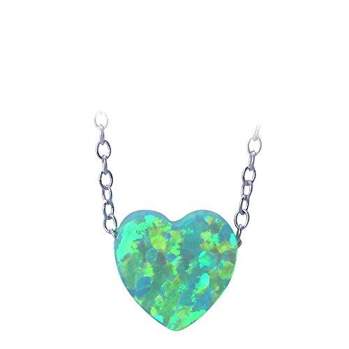 Plata de Ley 925Colgante De Fiesta Diseño en forma de corazón verde Fire Opal para las mujeres ops740