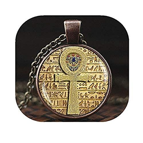 Youkeshan Collier avec pendentif en forme de croix égyptienne, bijou égyptien, bijou égyptien, pendentif Ankh, collier égyptien, bijou égyptien