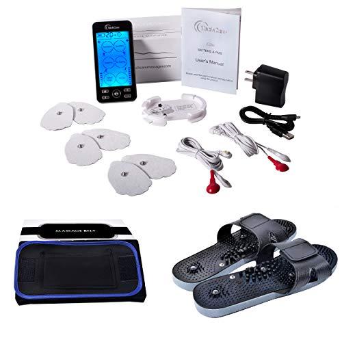 TechCare Plus 24 Modes Tens Unit Massager Rechargeable Unit Electric Complete Set + Fat Burner Belt + Reflexology Shoes Back Neck Pain