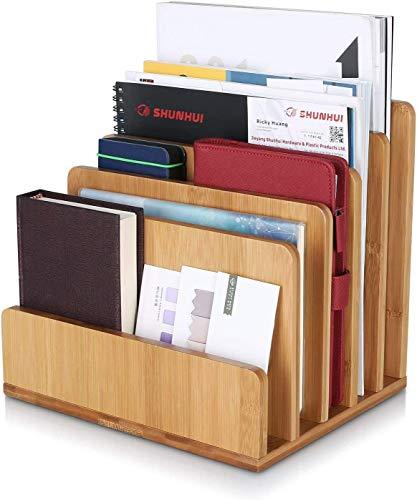 Homfa Organizador de Escritorio Bambú Archivador Almacenaje Documentos Revistas Libros Papel A4 para Oficina Estudio con 5 Compartimentos 24.5x20.5x23cm