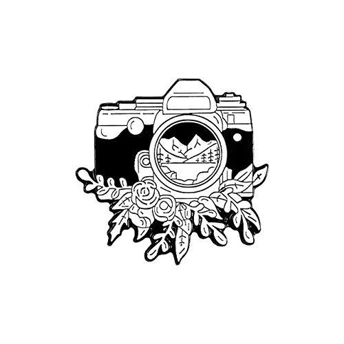 Pin de esmalte suave con paisaje de registro, cámara redonda blanca simple, reloj de arena, hervidor, broche, paisaje, montaña, playa, árbol, joyería al aire libre-5
