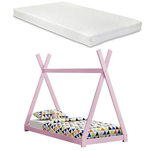 [sv.casa] Barnsäng med madrass 90 x 200 cm tipi-design furu säng träsäng hussäng kallskum madrass ekotex standard 100 allergikerlämplig andas 90 x 200 cm ROSA