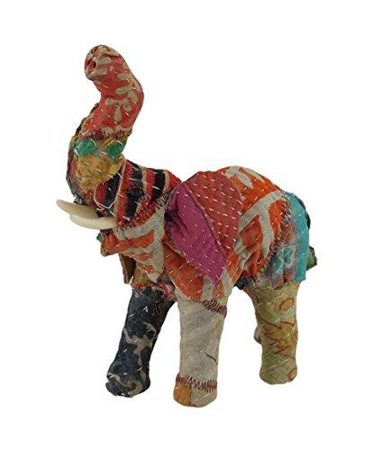 Vintage Sari cubierto de tela papel maché Elefante Escultura 7en.