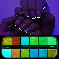 12グリッド3Dフレーク蛍光ネイルスパンコールフラキングネイルチャンキーキラキラデコレーションネイルアクセサリー huangxiuquan (Color : YS)