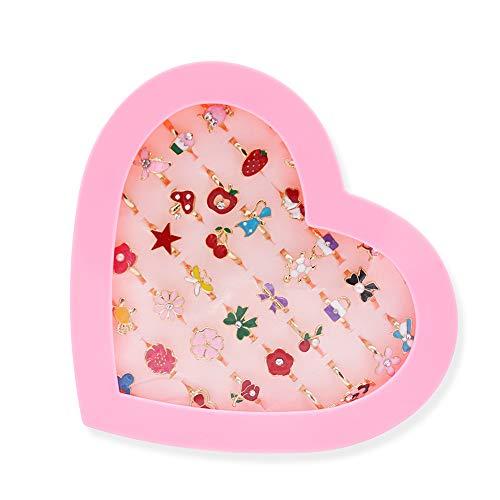 36 Stück Kinderringe Mädchen Ring Kinder Ringe Set ,Verstellbare Ringe für Kinder Geburtstag Party Favors Spielzeug Prinzessinnen