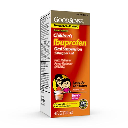 Good Sense Children'sIbuprofen Oral Suspension, 100 mg per 5 ml, Berry Flavor, Pain RelieverandFever Reducer, 118 ml