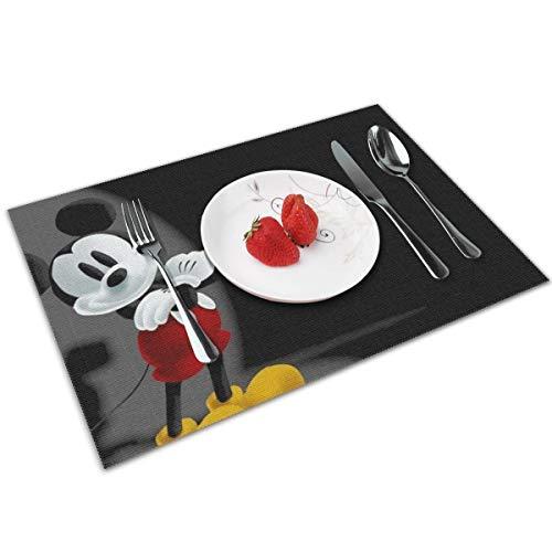 KANKANHAHA Mickey Mouse Tischsets für Esstisch, waschbar, Platzsets für Küchentisch, Polyester, hitzebeständig, 30,5 x 45,7 cm, 4er-Set