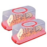 2 Pcs Portable Rectangular Plastic Bread Carrier with Handle and Transparent Lid Loaf Cake for...