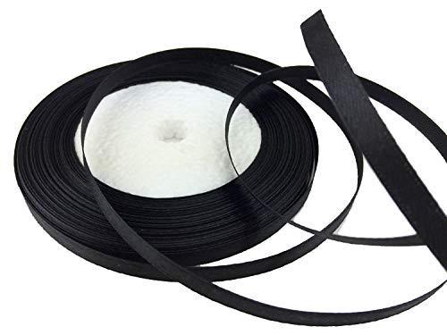 Solid Color Satin Ribbon 1/4',25yds (Black)