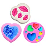 Bakajixiry - Moldes para decoración de tartas de fondant, beso de labios, rosa, corazón, decoración de San Valentín, para tartas, magdalenas, azúcar, chocolate, gelatina, herramientas para hornear