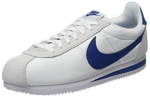 Nike Classic Cortez Nylon, Zapatillas para Hombre, Blanco (Weiß/Blau Weiß/Blau), 43 EU