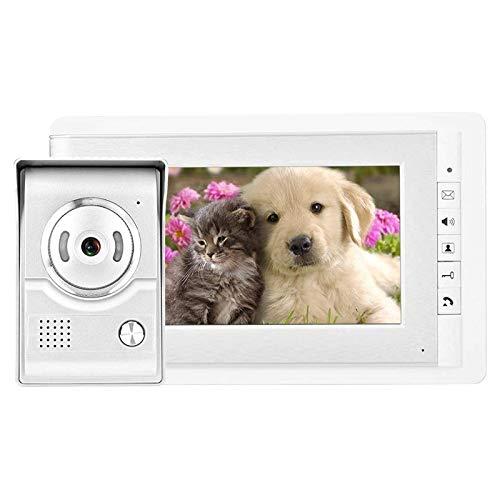 7 En Color HD TFT-LCD Timbre Inteligente Intercomunicador Timbre de la Puerta Vista Nocturna, a Prueba de Agua y Polvo, Monitor HD (Color : White, Size : 250x150x25mm)