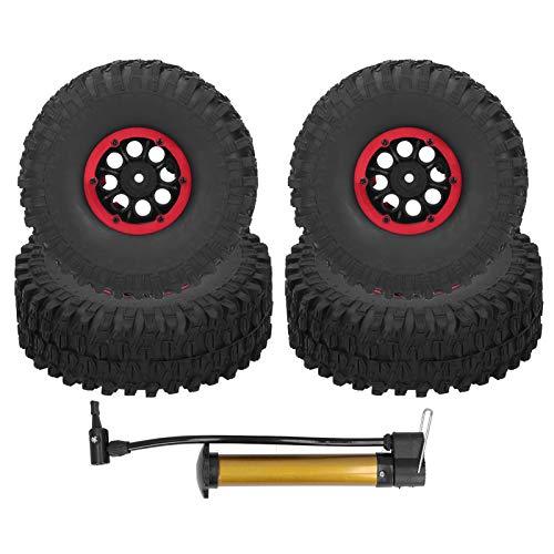 RC Autoreifen 4 Stück 1,9 Zoll Gummi RC Crawler Reifen Gummireifen Rad Reifen für Fernbedienung RC Car SCX10 TRX4(rot)
