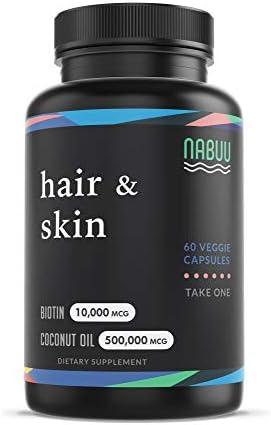 Biotin 10000mcg with Organic Coconut Oil Biotin Vitamins for Hair Skin and Nails for Women Biotin product image