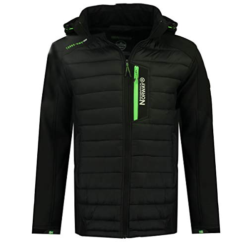 Geographical Norway Herren Jacke Softshell / Steppjacke Hybrid MIX Funktionsjacke Kapuze (L, Schwarz)