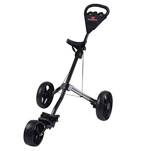 QQLK Golftrolley Faltbar, Unisex, 3 Rad Faltbarer Golf Pull/Push Trolley, Golf Pull Cart FüR Golfsport Im Freien,Schwarz