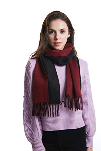 EURKEA 100% Cashmere Reversible Two Tone Colors Scarf for Men and Women, Black and Burgundy, Free Size