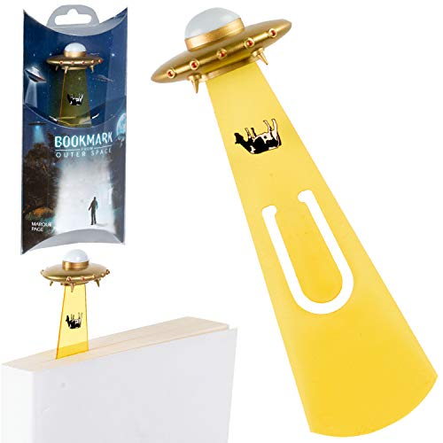 Bookmarks from Outer Space Novelty Fun UFO Book Mark Reading Book Lover Gift – Gold UFO