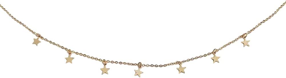Fenfangxilas Star Choker Necklace, Simple Women Stars Pendant Alloy Clavicle Chain Choker Necklace Jewelry for Valentine's Day Golden