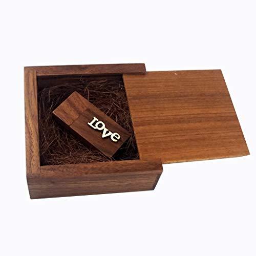 LUCKCRAZY Matrimonio Compleanno Noce USB Pen Drive Regalo 16 GB Chiavetta USB 2.0 in legno con confezione regalo