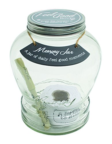Top Shelf Feel Good Memory Jar With 180 Tickets, Pen, and Decorative Lid