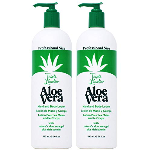 Triple Lanolin Aloe 20 Ounce Hand & Body Lotion Pump (591ml) (2 Pack)