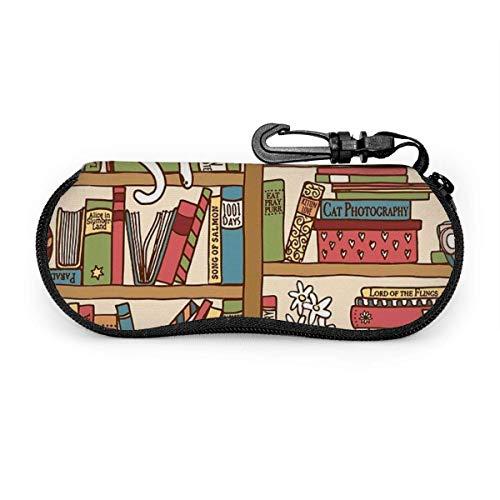 Arvolas Buchliebhaber Katze, die über Bücherregal in der Bibliothek schläft Langlebiger Reisebrillenetui Brillentasche für Studenten Männer Frauen