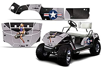 AMR Racing Golf Cart Graphics kit Sticker Decal Compatible with Yamaha 1995-2006 - T-Bomber Black