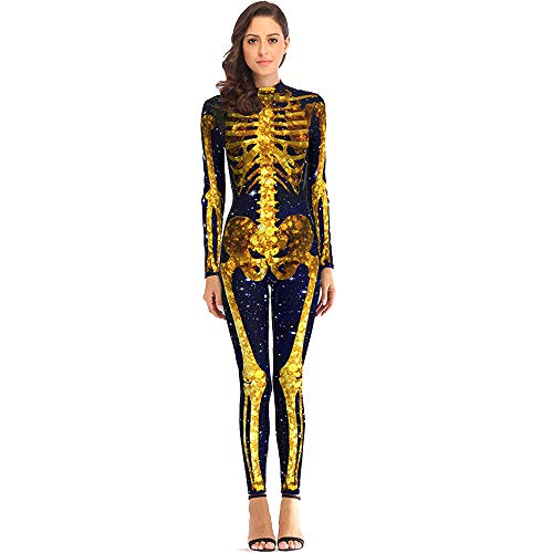 BOMBAX Women Skeleton Halloween Costume Bodysuit Cop Cosplay Jumpsuits and Rompers Gold