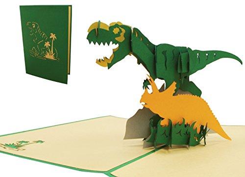 LIN 17538, Pop Up 3D Karte Tiere, Pop Up Geburtstagskarte Kinder, Grußkarten Dino, Pop Up Karte Dinosaurier, POP UP Karten Geburtstag, 3D Karten Dinosaurier, N292