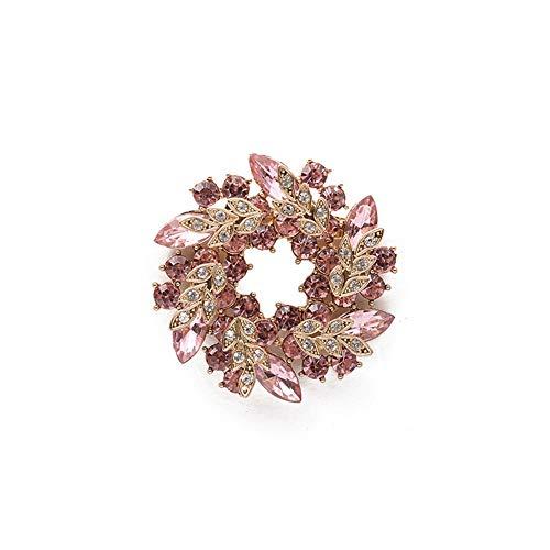 Cosanter - Spilla da Donna Brooch a Forma Ghirlanda Clip Sette Colori Sciarpa Abbigliamento Adatto per Banchetti Matrimoni Party Decor(Rosa)