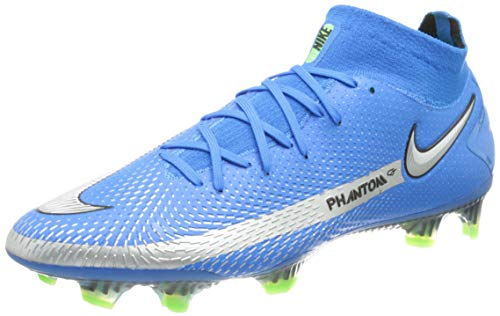 Nike Phantom GT Elite DF FG, Scarpe da Calcio Unisex-Adulto, Photo Blue/Mtlc Silver-Rage Green-Black, 42 EU