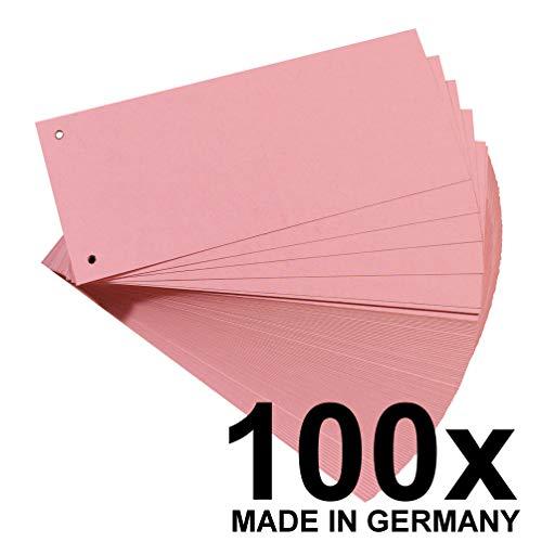 Original Falken 100er Pack Karton-Trennstreifen. Made in Germany. 10,5 x 24 cm rot Trennlaschen Trennblätter Ordner Register Blauer Engel