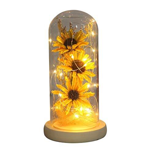 Lewpox Luces de Hadas LED,Girasol cúpula de Vidrio, Girasol Artificial,una cúpula de Vidrio, Regalos y artesanías, Adornos para Oficina y decoración del hogar Girasol Artificial