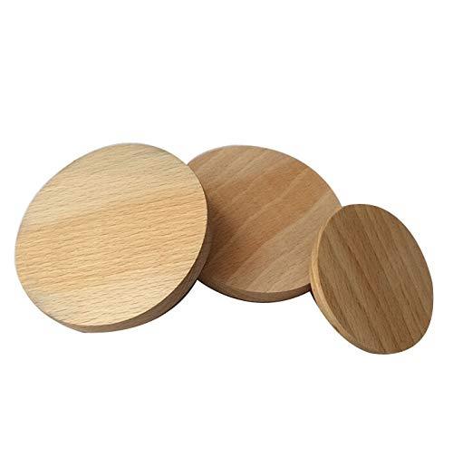 Wood Addicts Holzkreisel aus Buchenholz, 18 mm, zum Basteln, Dekorieren, Làser, CNC, Gravuren, Schlüsselanhänger, verschiedene Stärken und Größen erhältlich 8 cms (100 piezas)