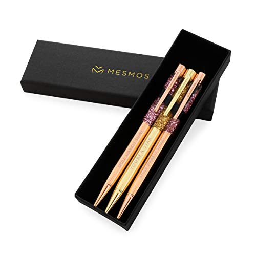 Fancy Pen Set for Women, Rose Gold Stationery, Boss Lady Pretty Ballpoint Pens. Engraved with Inspirational Motivational & Sayings. Well Weighted & Smooth Writing. Cute Office Supplies for Journaling