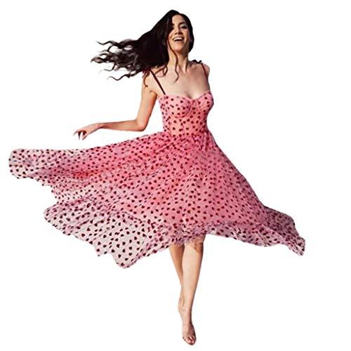 Auifor Damen Sexy Erdbeere Sweet Mesh Mode Kleid, Casual Garn V-Ausschnitt Pleated Elegante Maxi-Rock,Prinzessin Kleider A-Linien Partykleid Sommerkleider(Rosa(Strap),Small)
