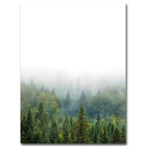 LWLNB Leinwand Gemälde Minimalismus Kunst Leinwand Poster Nebelwald Landschaft Wandbild Drucken Moderne Hauptdekoration