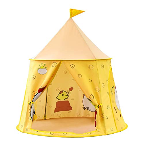 Tents Infant Game House, Kindergarten Play with Cartoon Chicks Yurt with Storage Bag Folding Size is About 18〃*18〃 (Color : Yellow, Size : 116 * 120CM)