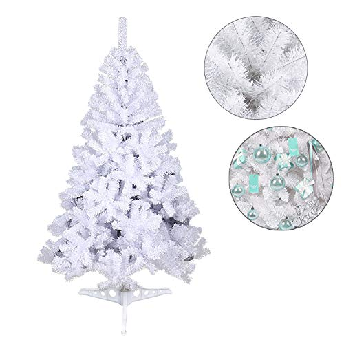 wolketon Christmas Tree 4FT White Realistic Natural Branches Pine Christmas Tree Artificial Fire Retardant
