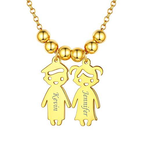 ChicSilver Joyería Moderna DIY de Plata de Ley 925 Collares Dorados con Dos Figuras Infantiles Colgantes Pequeños con Bolitas Decoradas