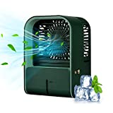 Pruzaan 2021 Portable Air Conditioner Fan Personal Air Cooler Rechargeable 4000mAh 3 Wind Speeds 330mL Water Tank 3in1 Mini small ac car Desk Table Fan For Room Office Home Travel Camping(green)