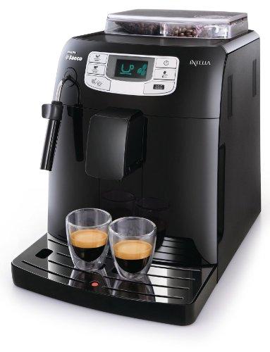 Saeco HD8751/11 Intelia Kaffeevollautomat, Keramikmahlwerk, Dampfdüse, schwarz