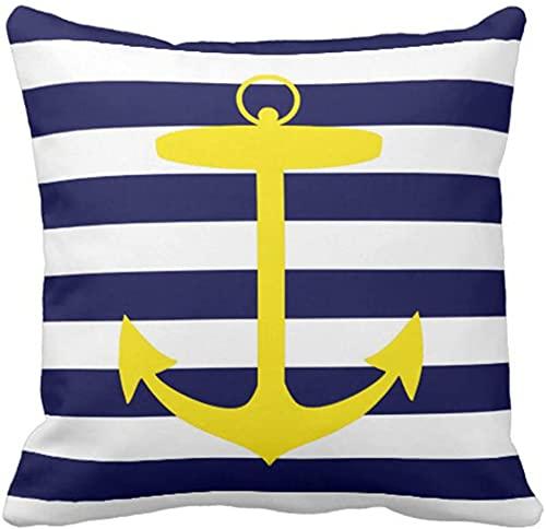 QUEMIN Throw Pillow Cover Stripes Náutico Amarillo Ancla Azul Neón Funda de Almohada Decorativa Decoración para el hogar Funda de Almohada Cuadrada de 18 x 18 Pulgadas