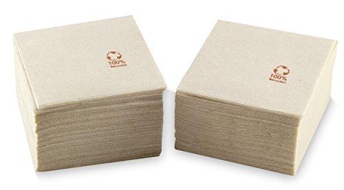 MORIGAMI SER22117138 Coktail, Servilleta 20x20, 2 capas, pliegue 1/4, 100 servilletas, punta-punta 100% natural kraft