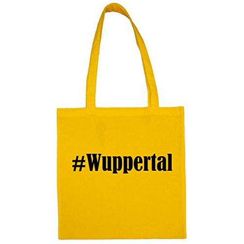 Tasche #Wuppertal Größe 38x42 Farbe Gelb Druck Schwarz