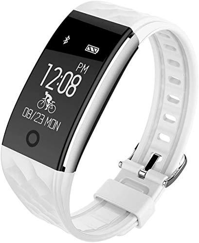 Rastreador deportivo Bluetooth impermeable de consumo de calorías con control de ritmo cardíaco y mensaje de seguimiento de sueño, aplicable a Android iOS reloj inteligente negro y blanco