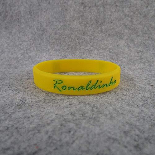 ZWH Estrella del fútbol brasileño Ronaldinho Firma 10 pequeños Deportes Pulsera Luminosa Pulsera de Silicona (Color : Yellow, Size : 19CM)