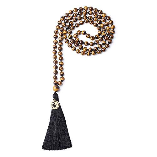 coai Unisex Handgeknüpft 108 Mala Yoga Kette Buddhistische Halskette Gebetskette aus 8mm Tigerauge Gelb mit Quaste und OM Anhänger